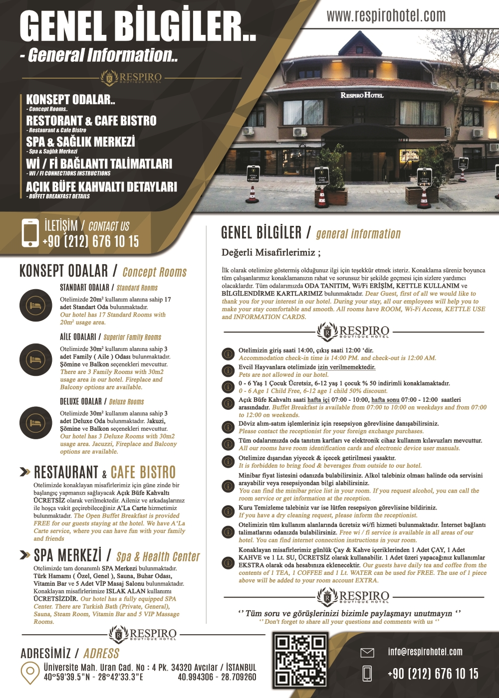 Respiro Boutique Hotel Factsheet Genel Bilgiler
